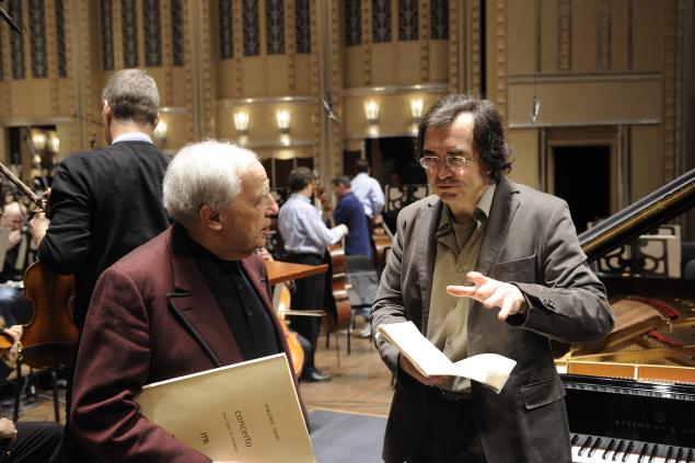 Pierre Boulez and Pierre-Laurent Aimard / Photo: Roger Mastroianni