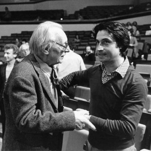 Composer Carl Orff speaking with Muti in Berlin