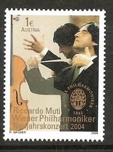 Austrian postage stamp showing Riccardo Muti conducting
