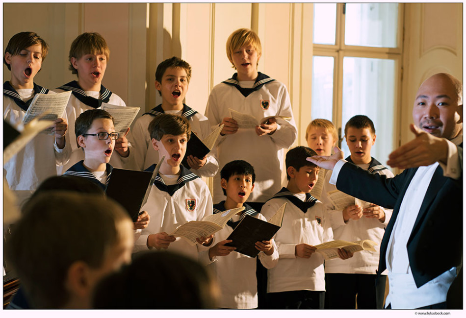 Jimmy Chiang (far right) and the Vienna Boys Choir Photo: Lukas Beck